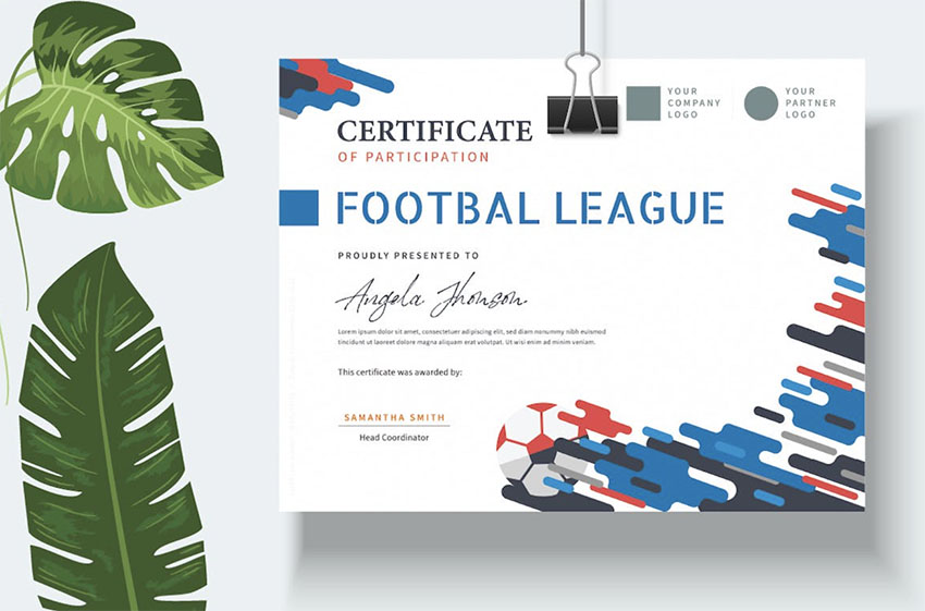 Professional Sports Certificate Templates