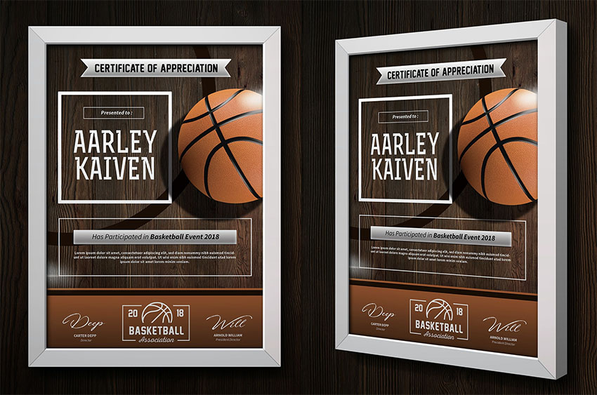 Basketball Sports Certificate Templates
