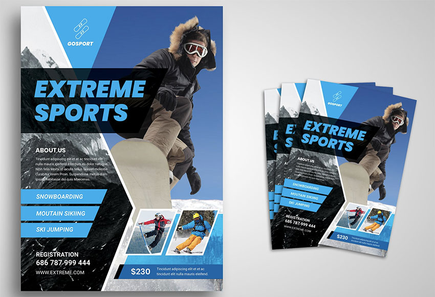 Skiing Sports Flyer Templates