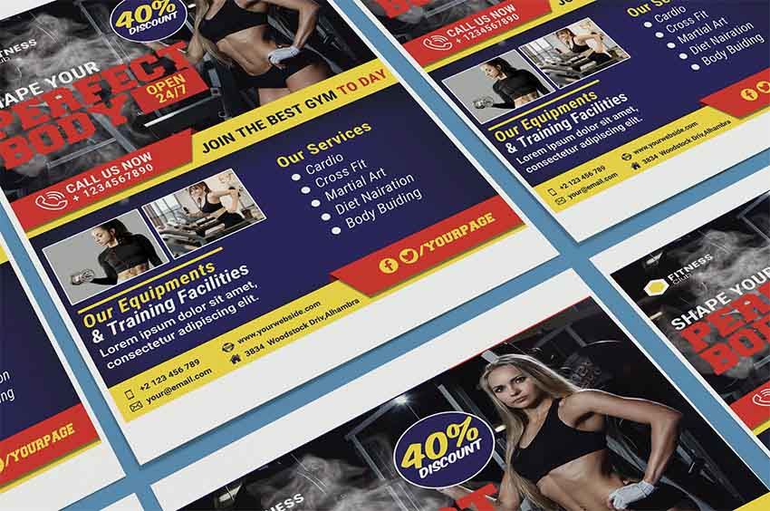 Fitness Layered Photoshop Sports Templates