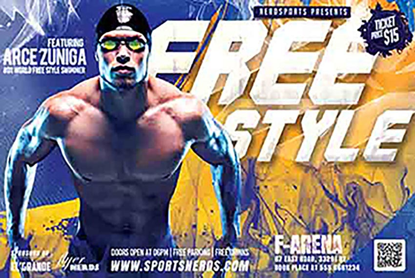 Freestyle Swimming Sports Flyer Templates