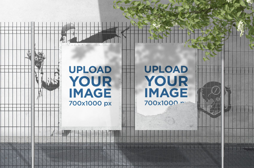 Mockup of Two Posters Placed on a Wire Fence