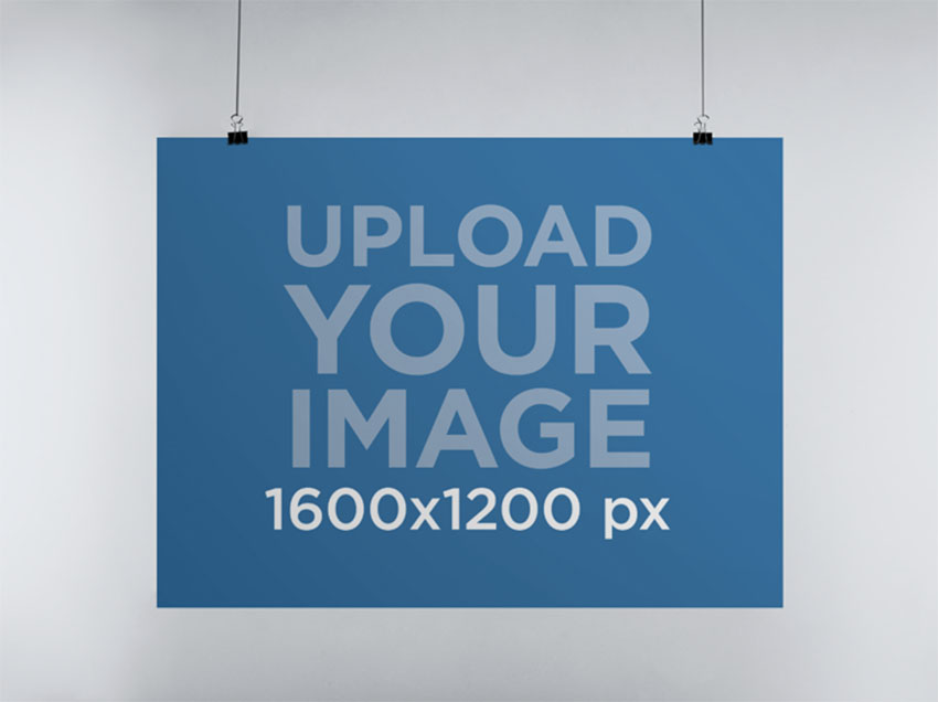 Horizontal Poster Mockup Hanging From a Wall