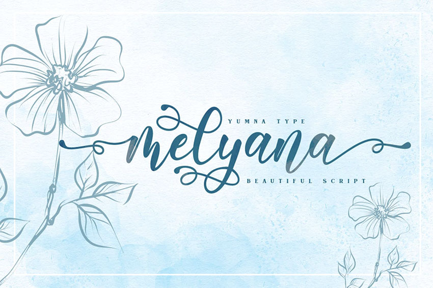 Melyana Calligraphy Font with Swashes