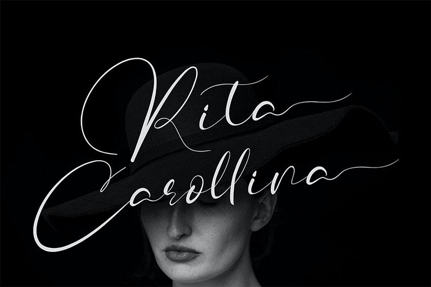 Rita Carollina Calligraphy Font with Swashes