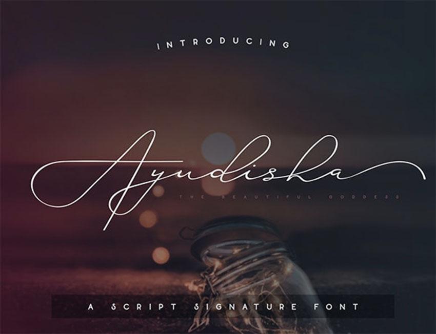Ayudisha Cursive Font with Tails