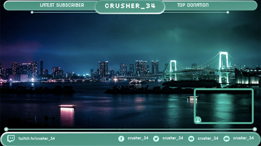 Twitch Overlay Maker Featuring a Live Cam Panel with a Night