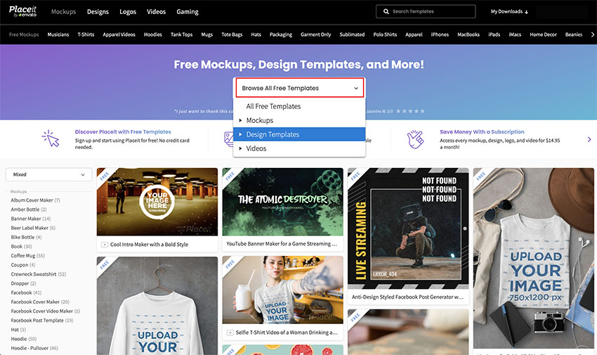 2 Go to Browse All Free Templates  Design Templates