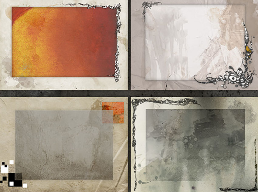 10 Layered Grunge Paper TexturesBackgroundFrames