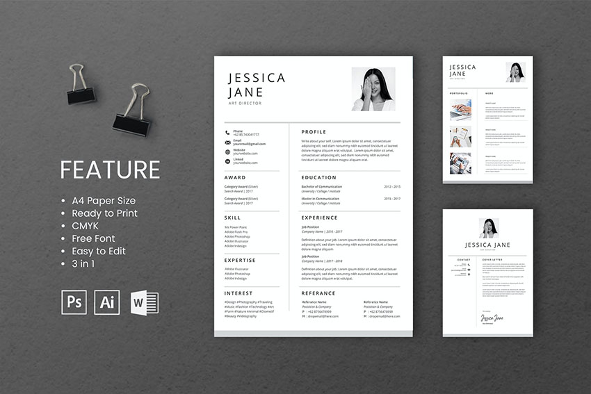 Professional CV And Resume Template Jessica