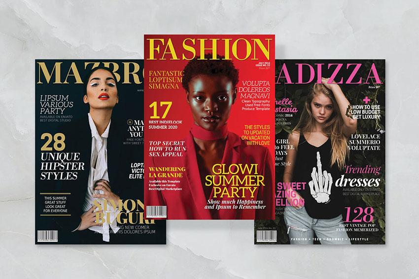3 Fake Magazine Cover Template Photoshop