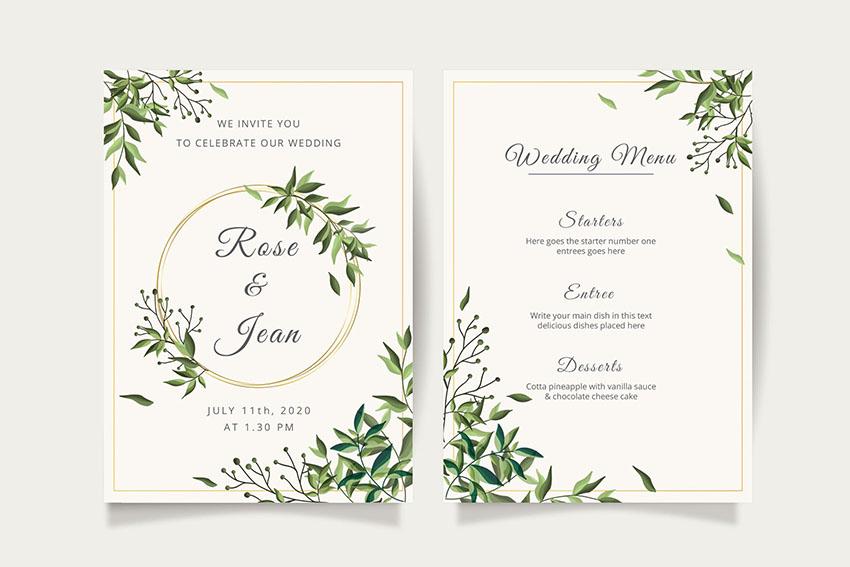 Floral Wedding Photoshop Invitation Template