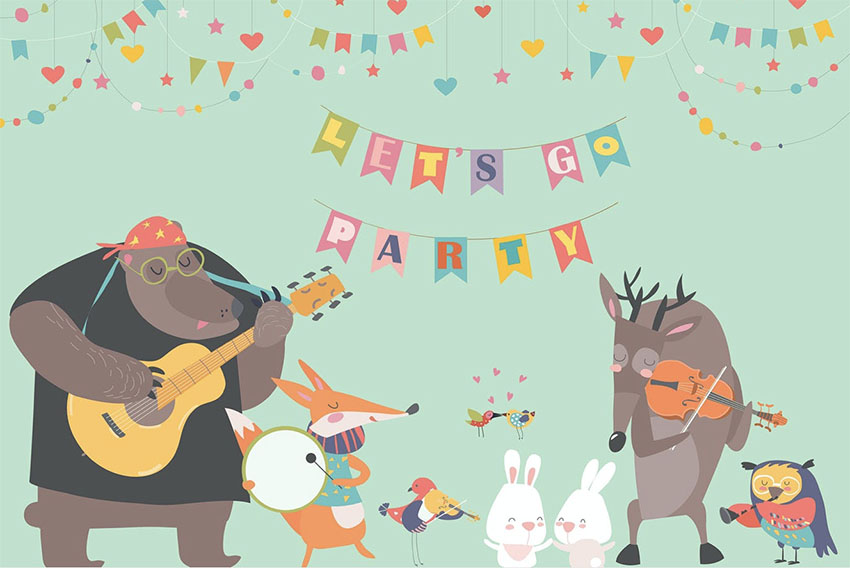 Cute Animal Illustrations - Music Band