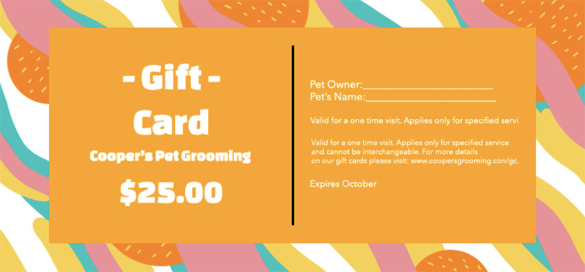 Gift Certificate Idea for a Pet Grooming Service