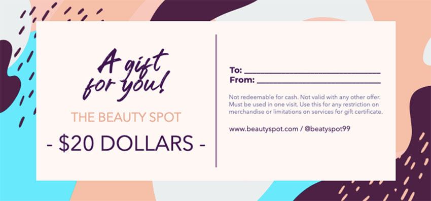 Gift Certificate Template for Beauty Supplies Stores