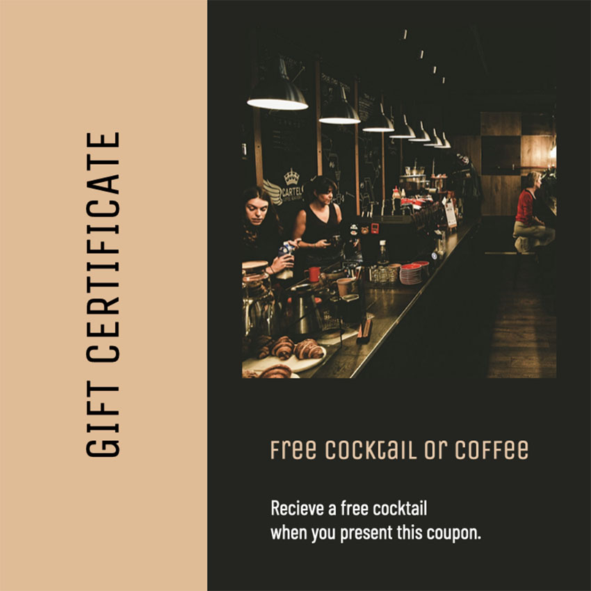Gift Certificate Template for Bars or Cafes