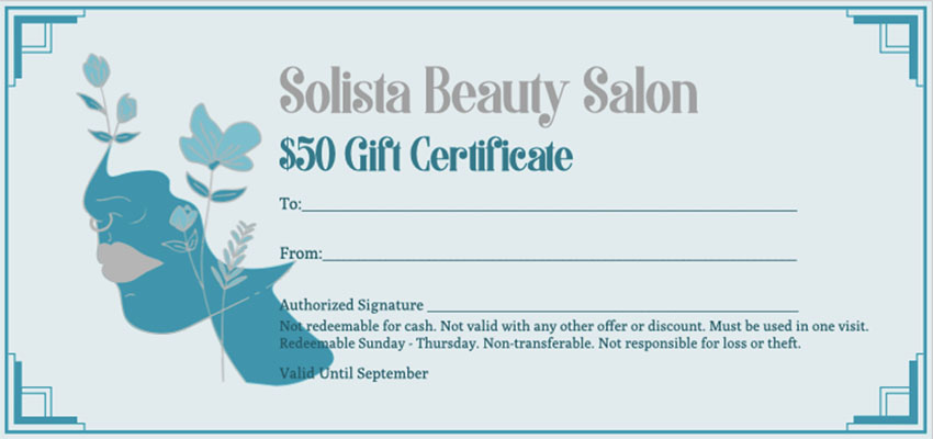 Gift Certificate Template for a Beauty Shop