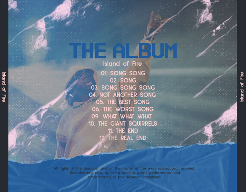 Hip-Hop Album Art Back Cover Maker Featuring Song Titles