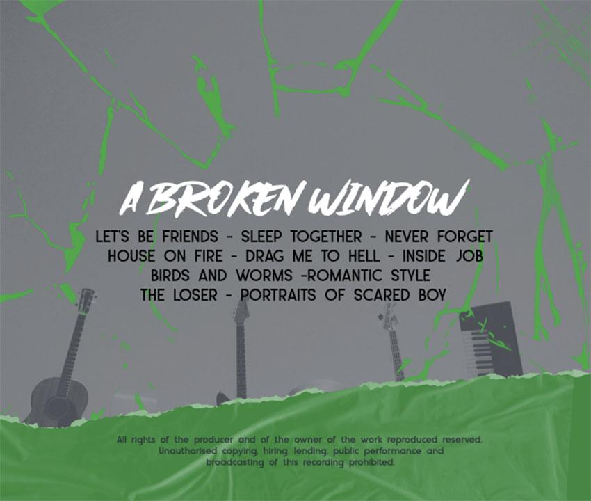 Album Back Cover Art Featuring a Broken Glass Effect