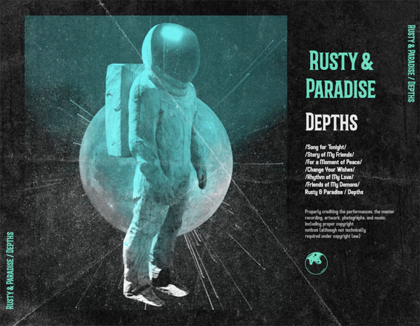 Alt Rock CD Album Back Cover Featuring an Astronaut Picture