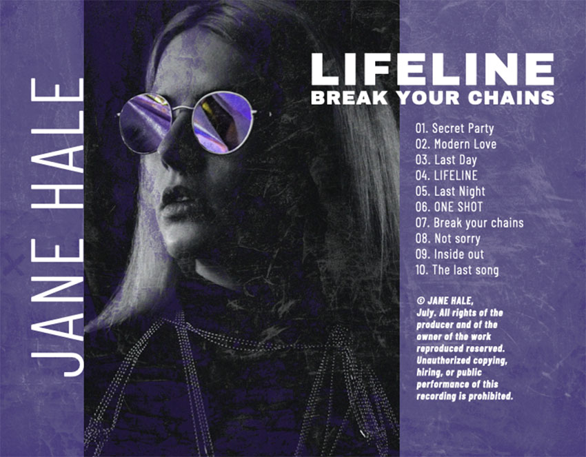 Pop Album Back Cover Art for a Female Singers Album
