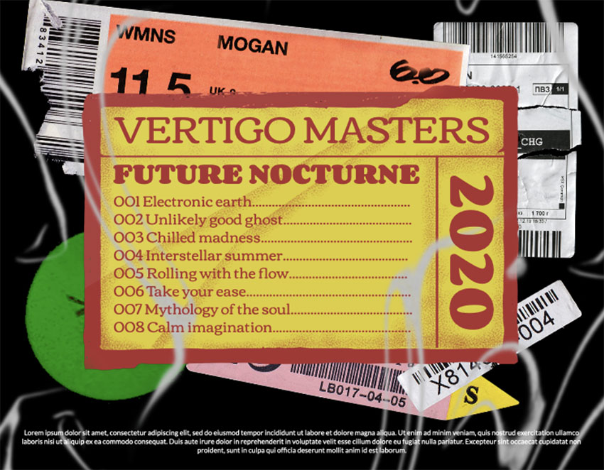Album Cover CD Back Featuring Colorful Stickers and Labels