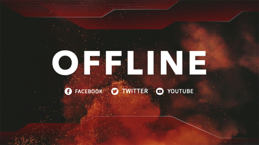 Twitch Offline Banner with Fiery Background