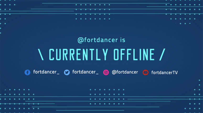 Stream Is Offline Twitch with Blue Tech Background