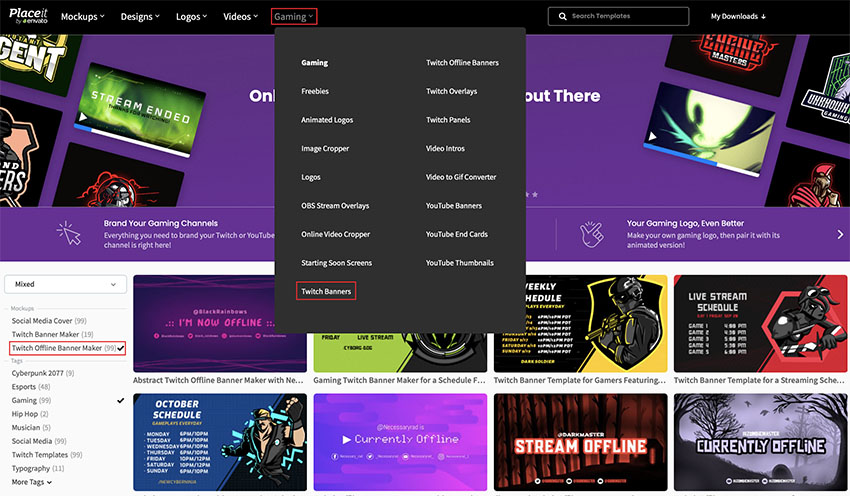Select a Twitch Offline Banner Template From Placeit