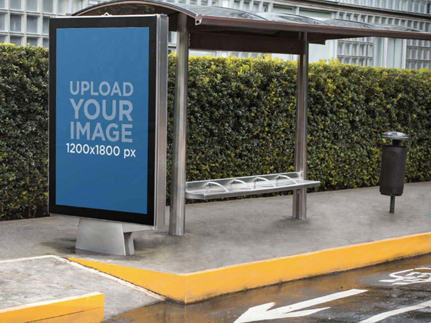 Billboard Mockup Template for a Bus Stop