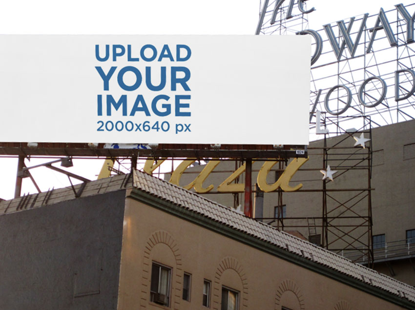 Advertising Billboard Mockup Placed on a Roof