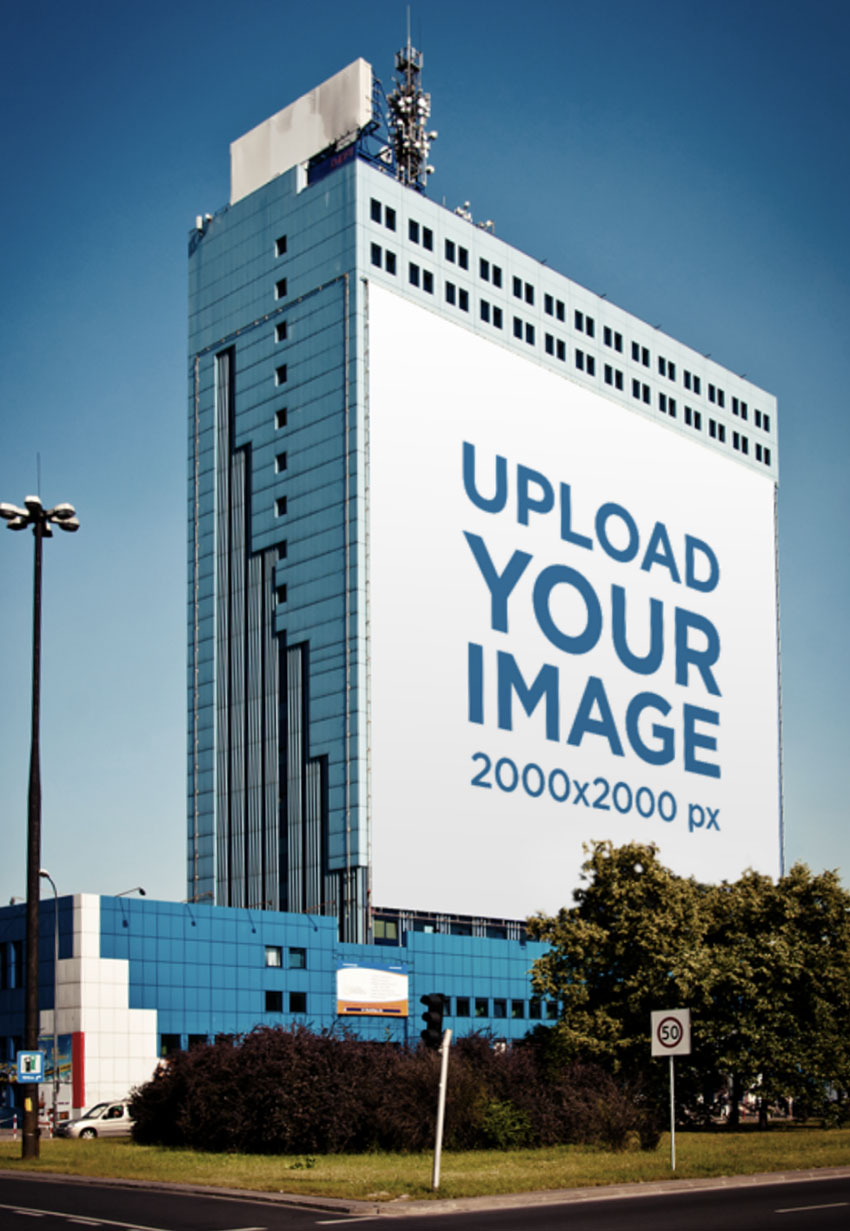 Square Billboard Mockup Placed on a Tall Building