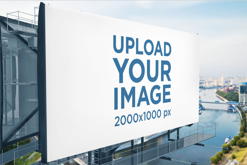 Billboard Template Featuring a Modern Structure over a River