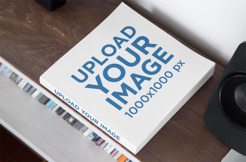 Square Cover Mockup with a Customizable Spine