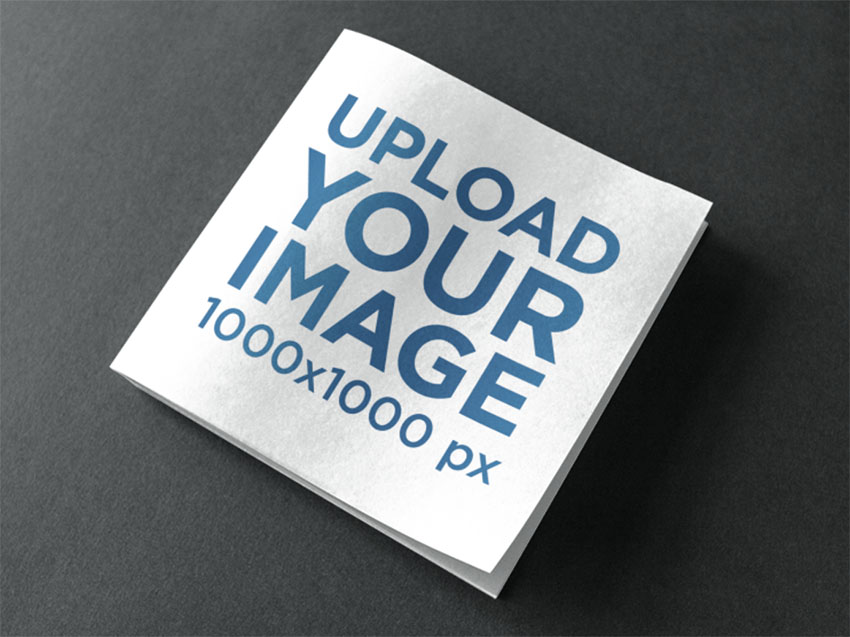 Square Book Mockup on Grey Background