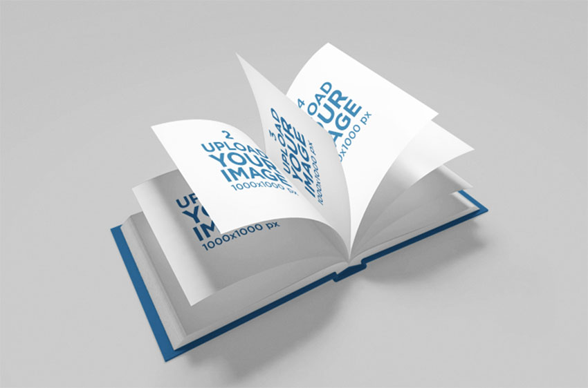 Mockup of an Open Squared Book with Flowing Pages