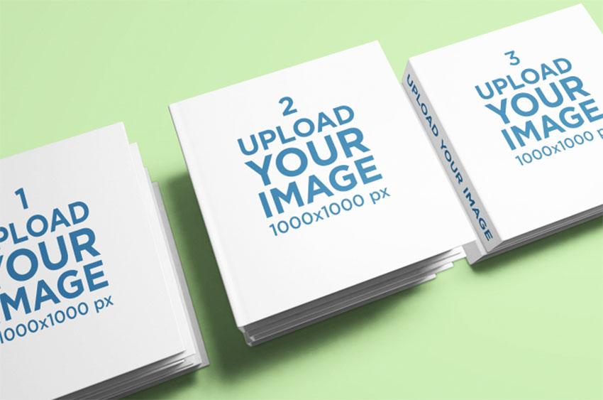 Three Square Book Spread Mockup Book Mockup