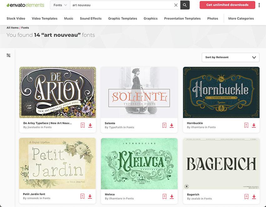 Art Nouveau Fonts at Envato Elements