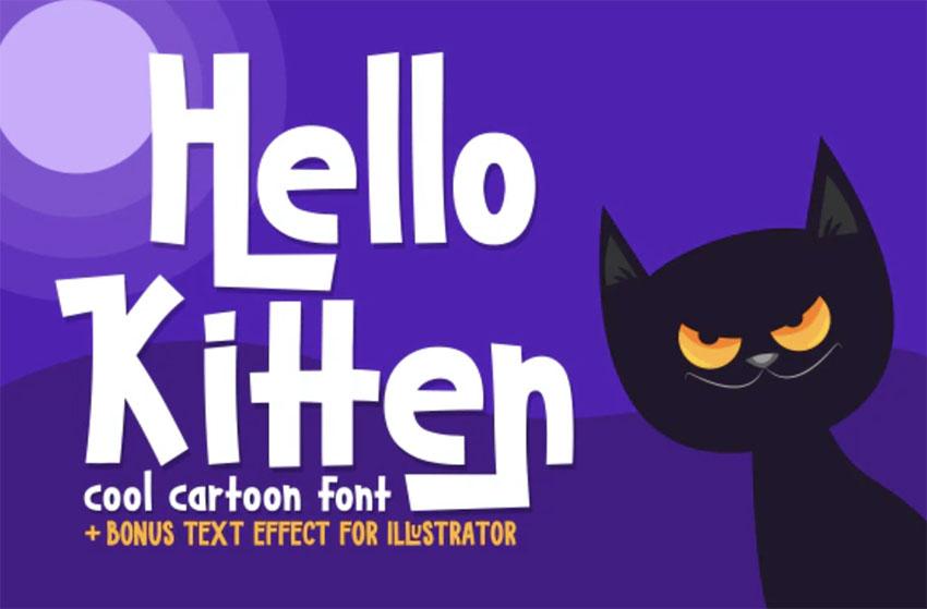 Hello Kitten Cartoon Lettering Font