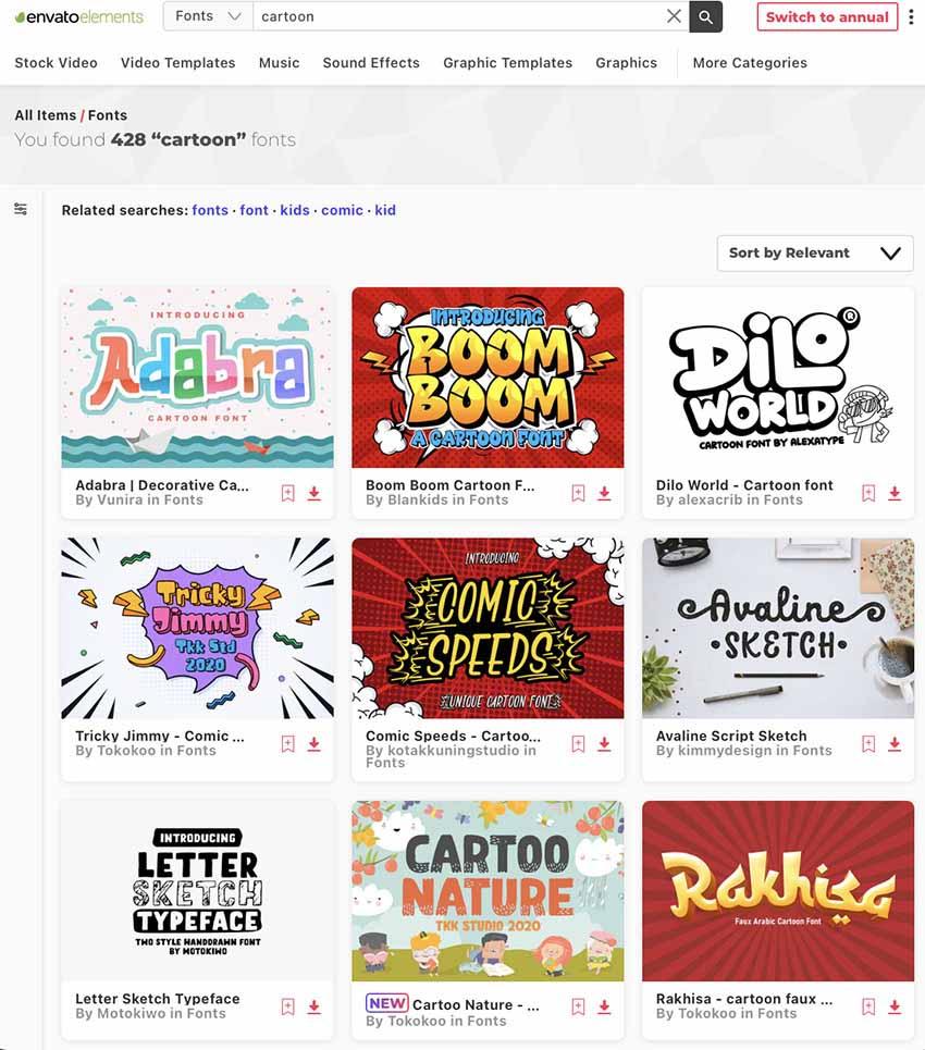 Unlimited Comic Book Fonts at Envato Elements