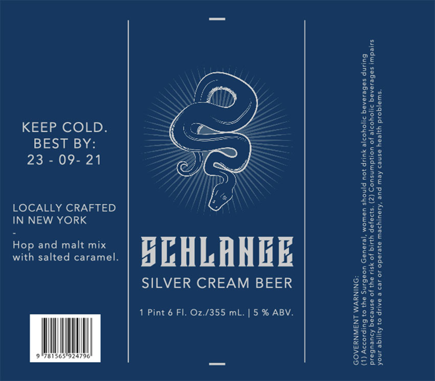 Beer Label Print with Snake Graphic