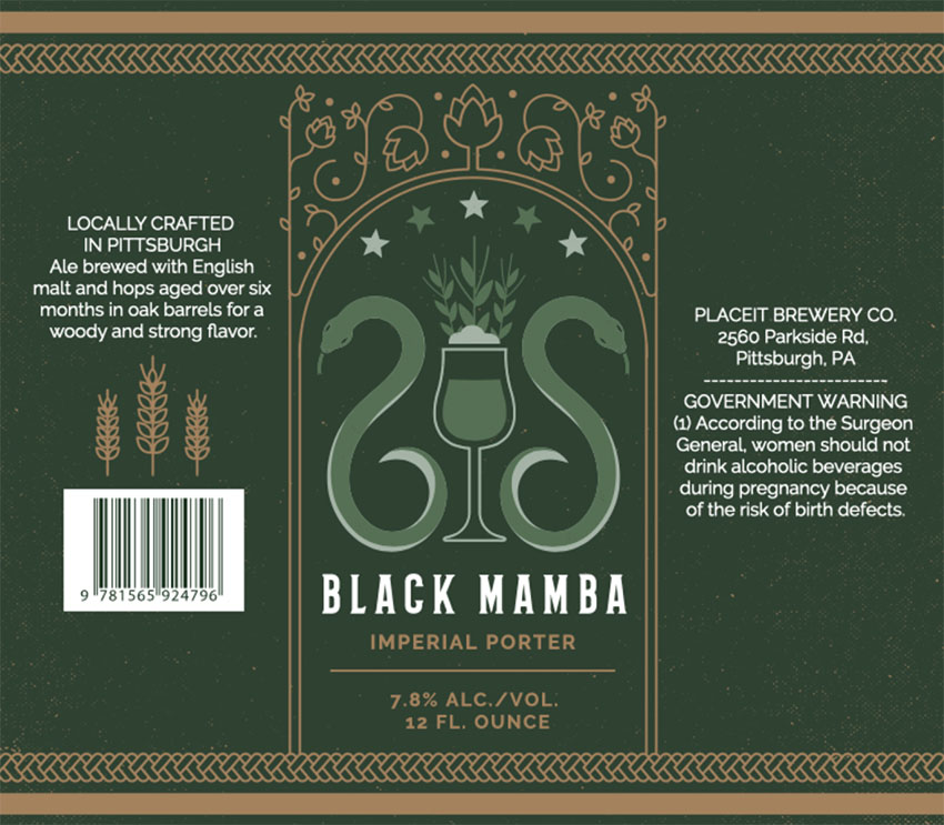 Beer Label Size Template for Porter Beers