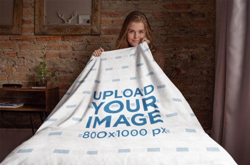 Throw Blanket Mockup