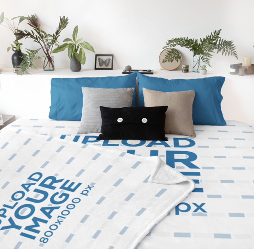 Throw Blanket Mockup with Bed Linen Mockup