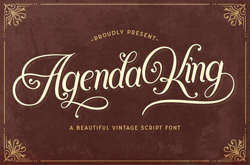 Agenda King - Retro Vintage Script Font