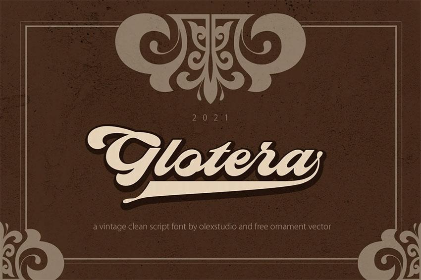 Glotera - Vintage Baseball Script Font