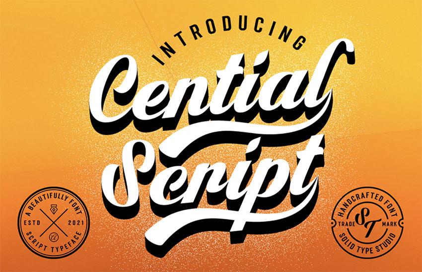 Cential Retro Vintage Script Font