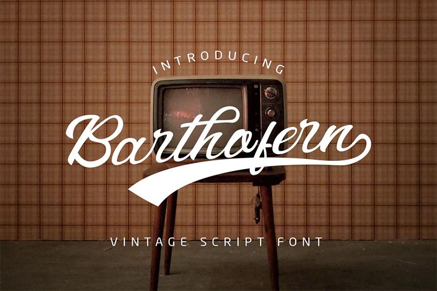 Barthofern - Vintage Script Font Alphabet
