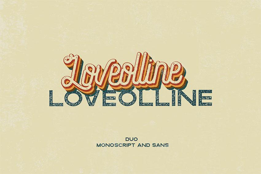 LOVEOLLINE - Retro Cursive Font with San Serif
