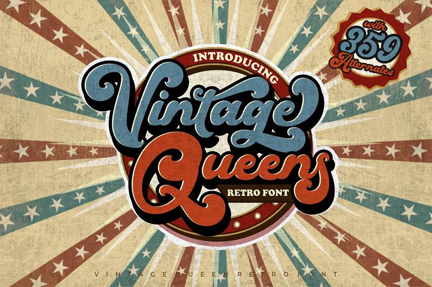 Vintage Queens - 70s Cursive Font